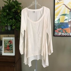 Tops - Long Sleeve Hanky Rayon Semi Sheer Blouse
